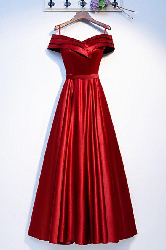 Off Shoulder Pleated Long Aline Prom Dress Burgundy - MYS69035