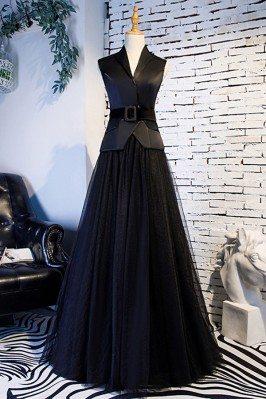 Formal Long Black Tulle...