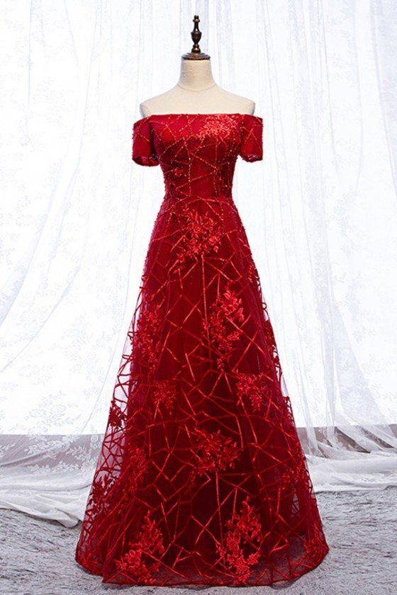 Burgundy Long Aline Off Shoulder Formal Dress With Special Lace - MYS69040