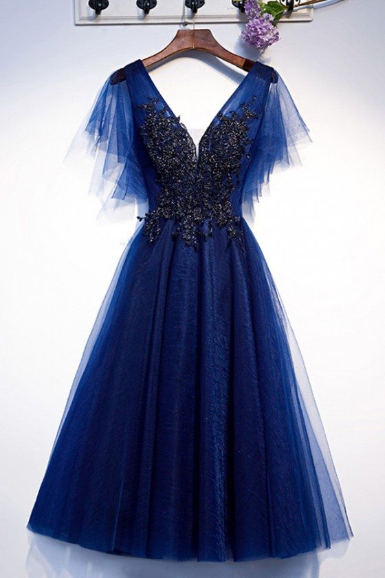 Vneck Puffy Sleeves Aline Tulle Prom Dress Blue