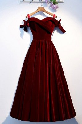 Dark Red Long Party Dress...