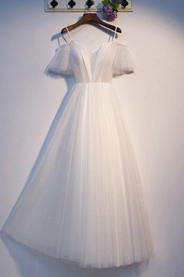 Long Tulle Aline White...