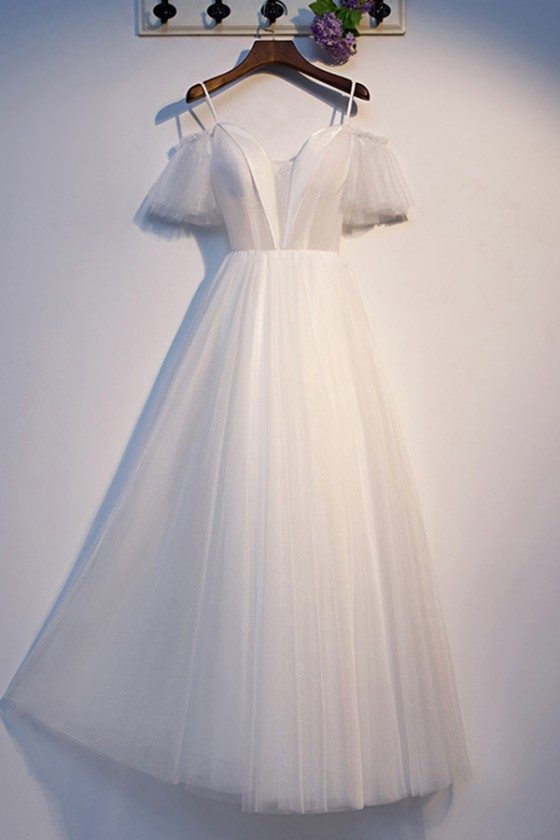Long Tulle Aline White Formal Dress With Sleeves - MYS69059