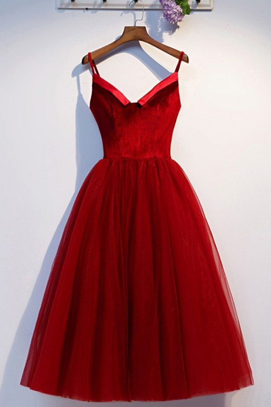 Velvet With Tulle Short Party Dress With Spaghetti Straps - MYS69011