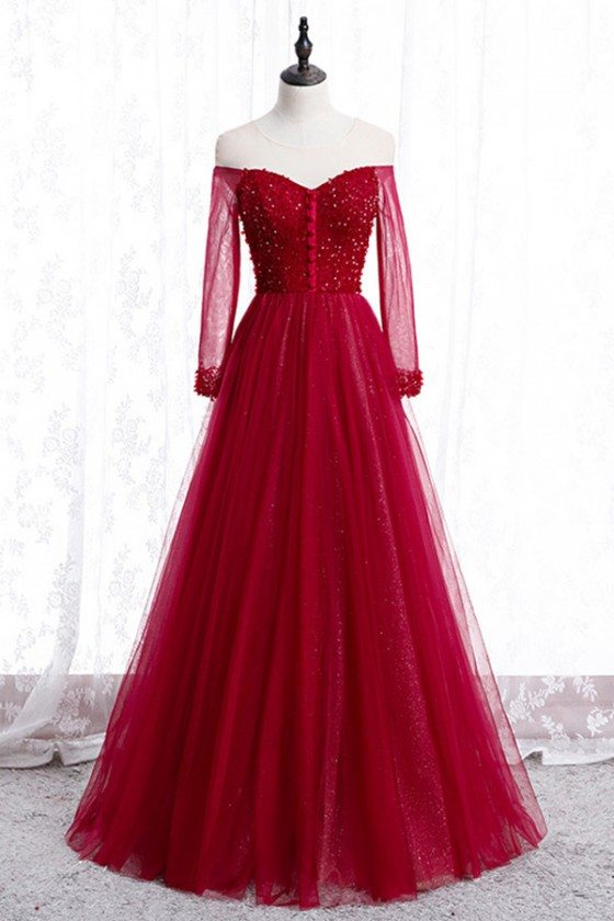 Illusion Sheer Neck Long Tulle Burgundy Prom Dress With Sleeves
