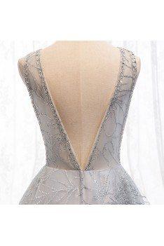 Sexy Vneck Open Back Sequins Long Prom Dress For Formal - MYS69095