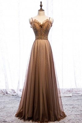Brown Tulle Beaded Long...
