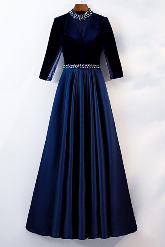 Modest Blue Long Formal Dress With Beaded Collar And Waist