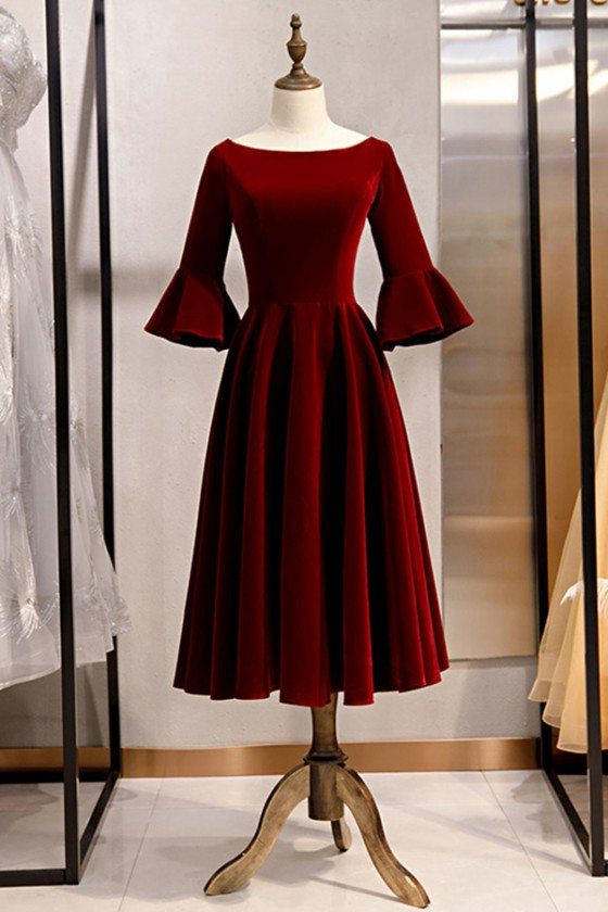 French Retro Tea Length Velvet Party Dress With Flare Sleeves - MYS79074