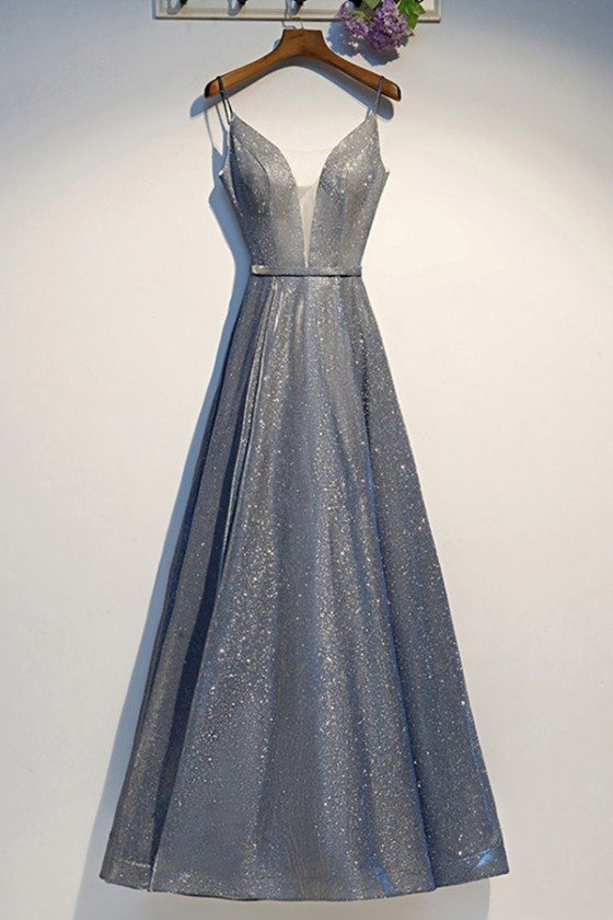 Silver Sparkly Long Prom Party Dress Aline With Straps - MYS69022
