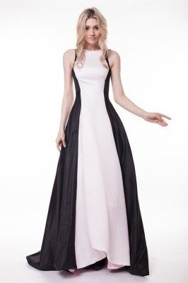Celebrity Black And White Sweep Train Formal Dress