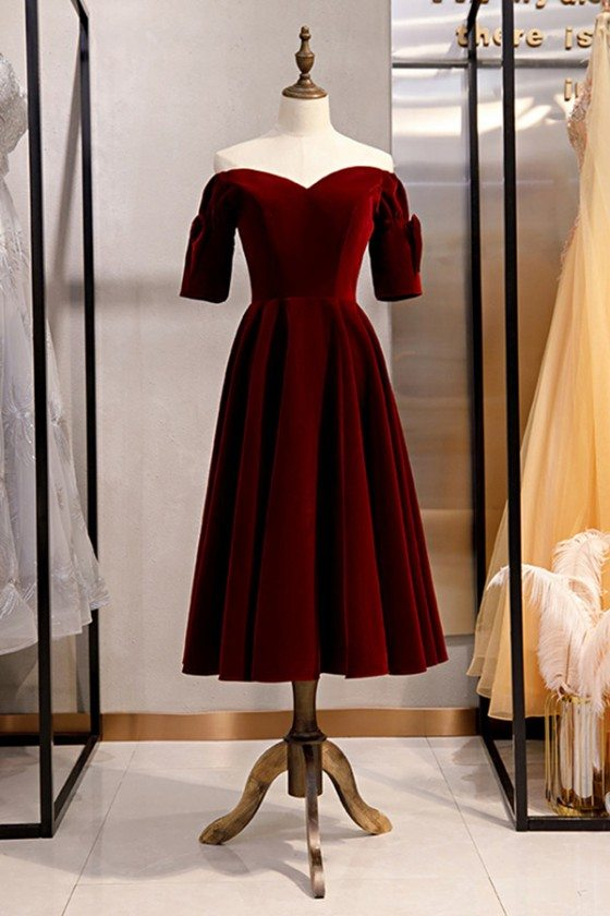 Velvet Maroon Retro Tea Length Party Dress With Off Shoulder Sleeves - MYS79070