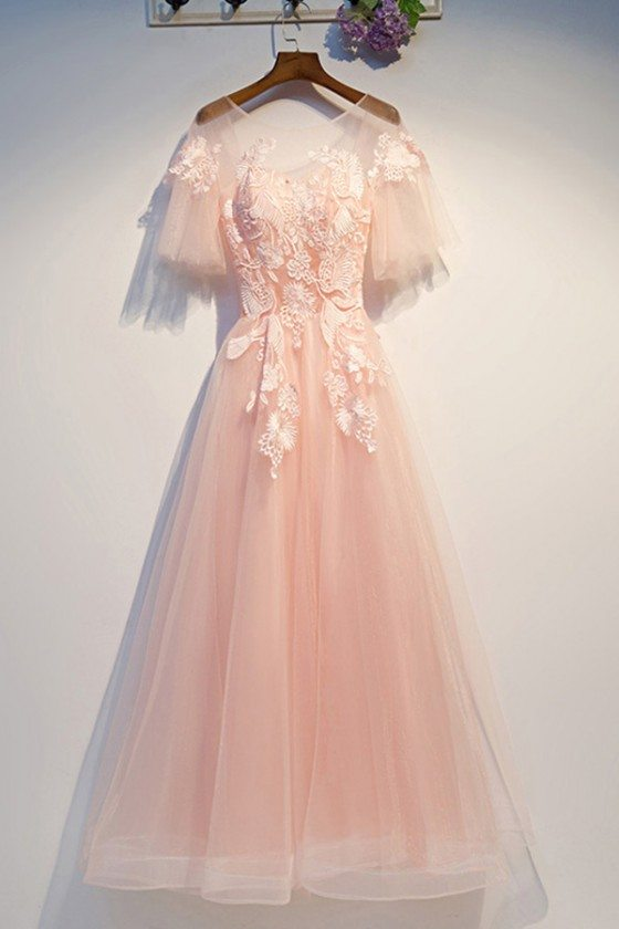 Cute Lace Blush Pink Prom Dress Aline With Sheer Neck Puffy Sleeves