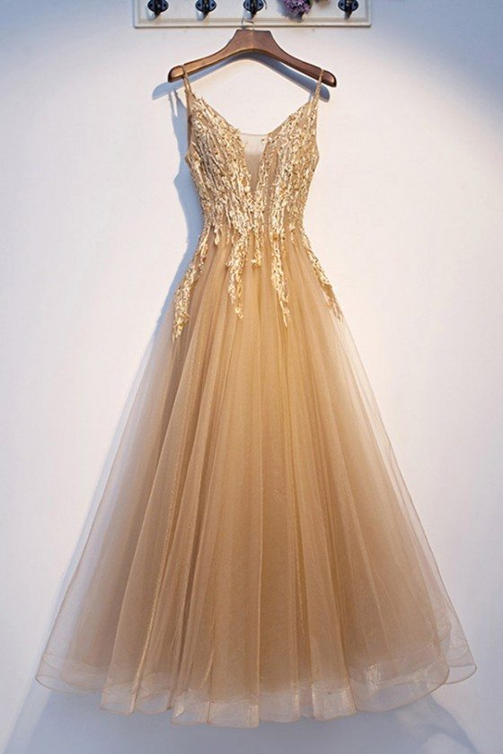 Luxe Champagne Gold Long Tulle Prom Dress With Beading - MYS69061