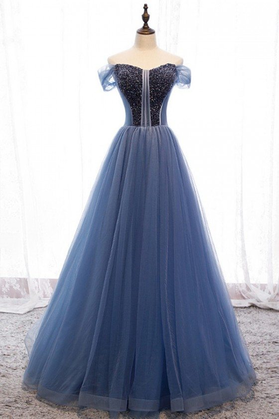 Off Shoulder Sequined Long Ballgown Prom Dress With Bling - MYS79003