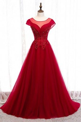 Burgundy Flowy Long Tulle...