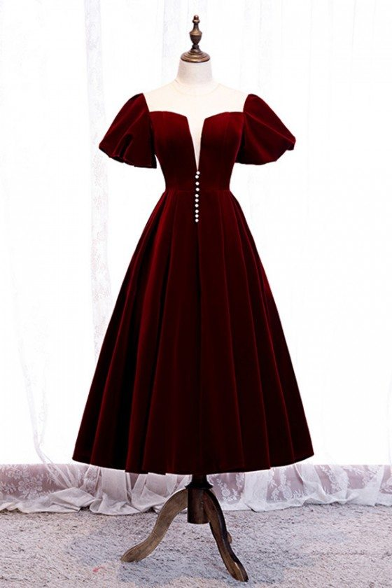 French Romantic Tea Length Party Dress Maroon With Sleeves