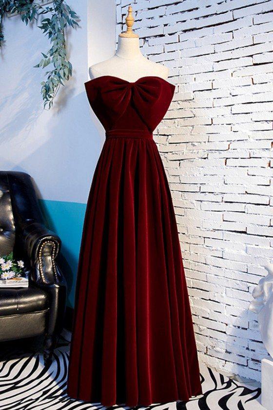 Dark Red Big Bow Front Long Velvet Party Dress Strapless