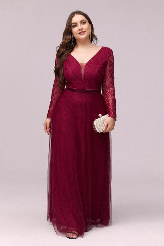 Plus Size Vneck Lace Burgundy Cheap Formal Dress With Long Sleeves - EP00364BD16