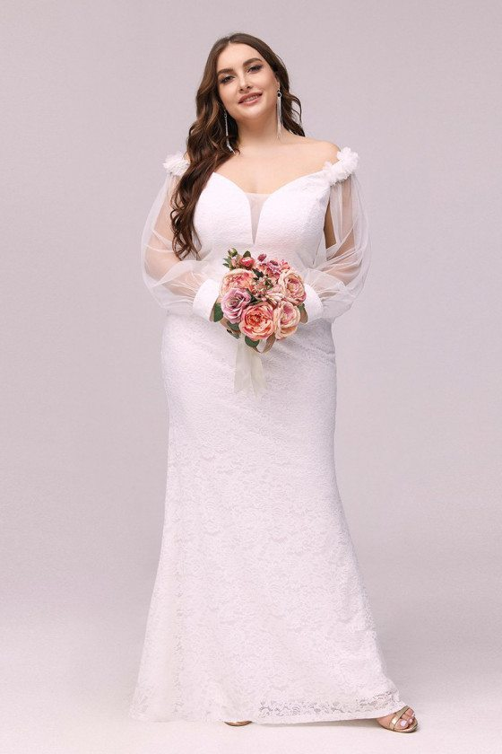Plus Size Cream White Mermaid Lace Cheap Wedding Reception Dress With Sheer Sleeves - EP00363CR16