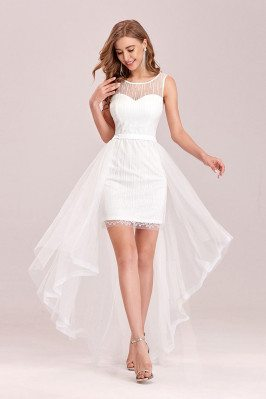 High Low Chic White Wedding Party Dress With Sheer Neckline - EP00484CR