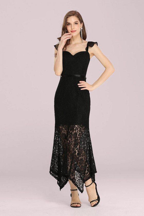Elegant Black Lace Tea Length Bodycon Party Dress