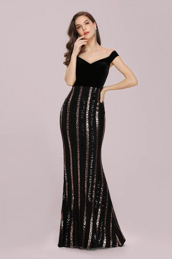 Mermaid Black Sequins Striped Evening Party Dress