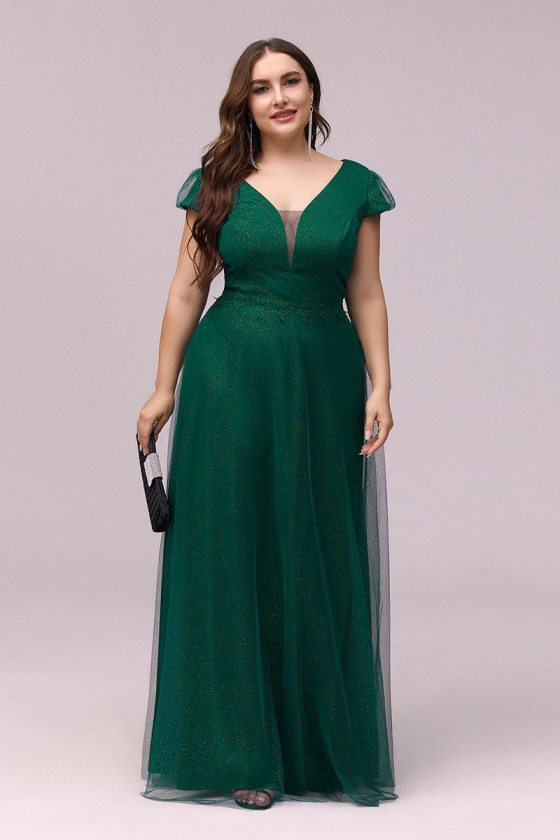 Plus Size Vneck Green Evening Prom Dress With Cap Sleeves