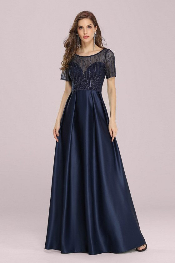 Navy Blue Satin Pleated Prom Dress With Sequins Short Sleeves