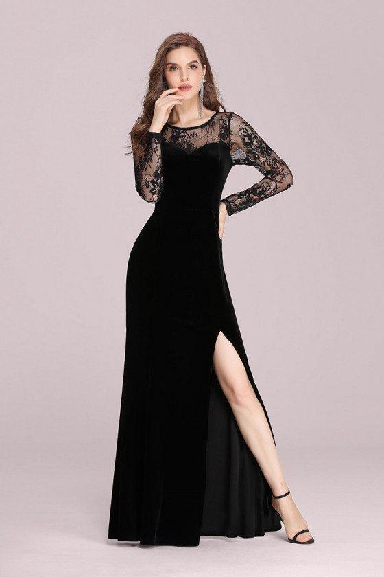 Black Lace Long Sleeves Velvet Evening Dress With Side Split - EP00361BK