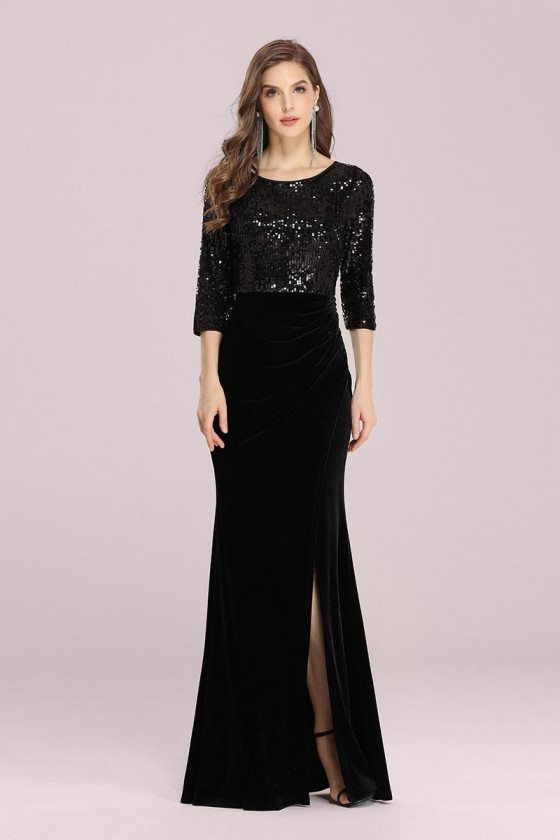 Formal Long Black Evening Velvet Dress With Sequined 3/4 Sleeves - EP00381BK