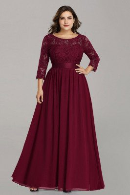 Burgundy Plus Size Long...