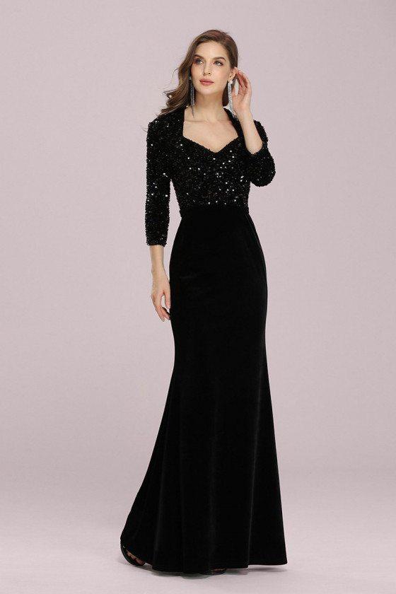 Elegant Black Velvet Mermaid Evening Dress With Sequins Sleeves - EP00379BK