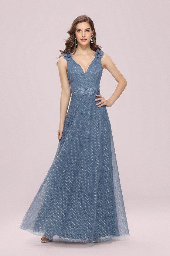 Dusty Blue Diamond Pattern Vneck Tulle Prom Dress With Flowers