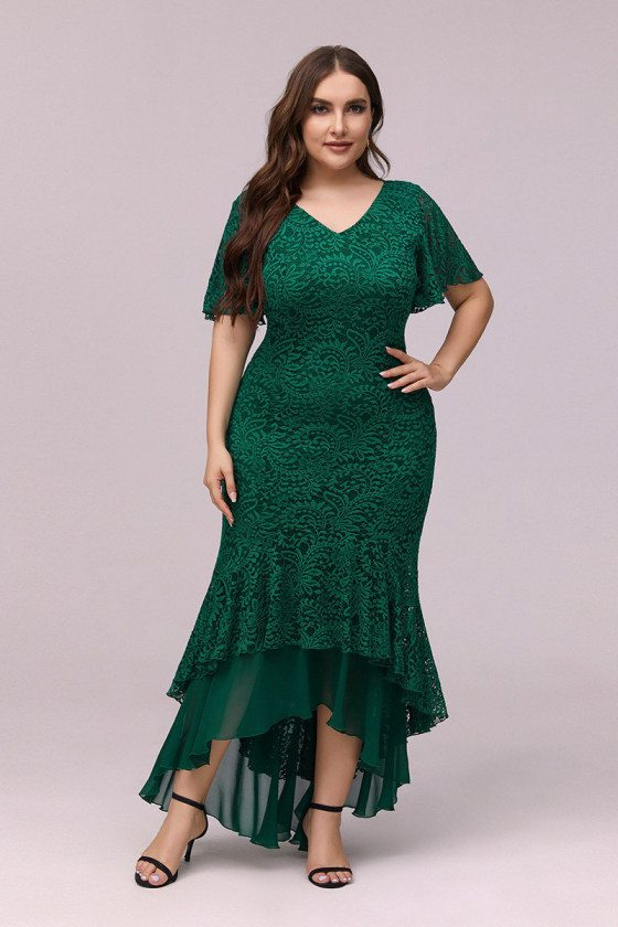 Plus Size Green Lace Bodycon Mermaid Party Dress With Puffy Sleeves - EP00352DG16