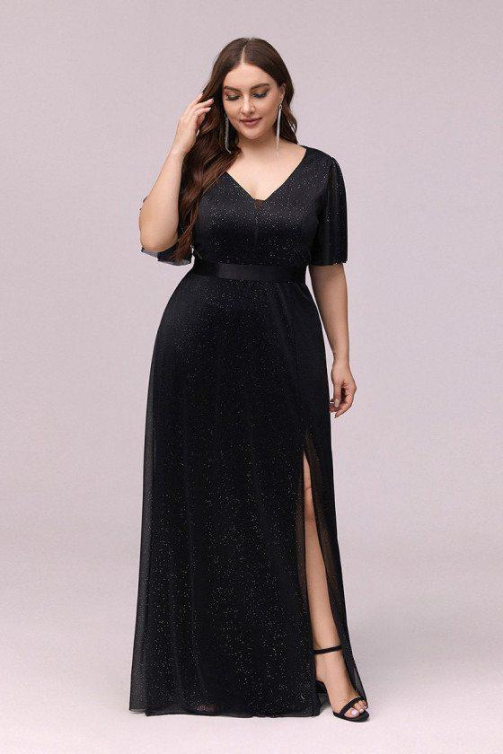 Plus Size Black Vneck Evening Formal Dress With Puffy Sleeves Side Split