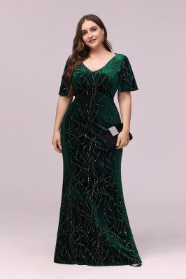 Modest Green Velvet Plus Size Evening Dress With Puffy Sleeves - EP00303DG16