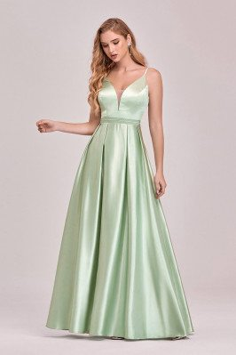 Mint Green Pleated Satin...