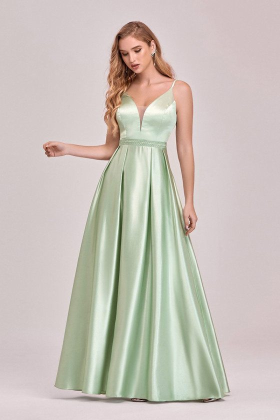 Mint Green Pleated Satin Simple Prom Dress With Spaghetti Straps