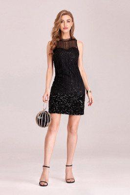 Little Black Sequins Bodycon Mini Party Dress - EP00322BK