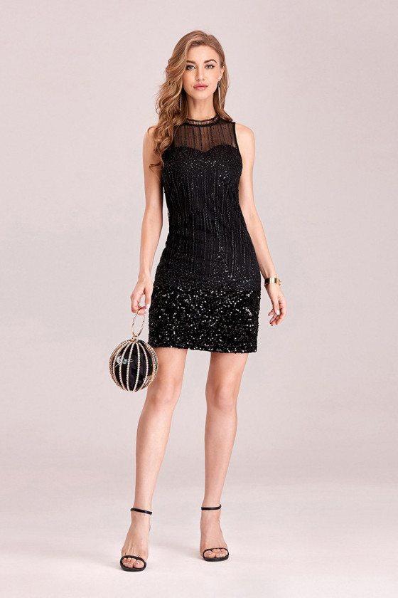 Little Black Sequins Bodycon Mini Party Dress