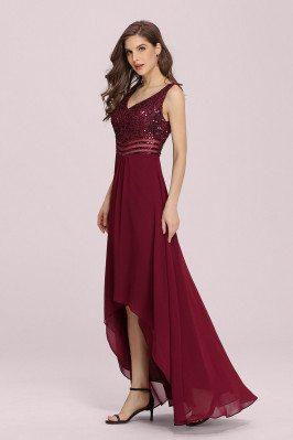 Burgundy Vneck Sequins High Low Chiffon Party Dress Sleeveless - EP00410BD