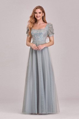 Gorgeous Grey Square Neckline Aline Tulle Prom Dress With Bubble Sleeves Sequins - EP00310GY