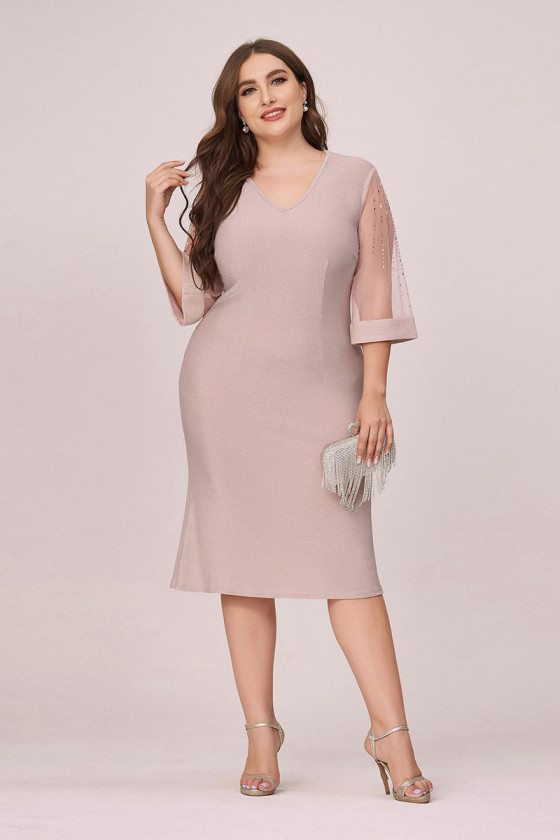 Plus Size Elegant Pink Bodycon Wedding Guest Dress With Sheer Sleeves - EP00496PK16