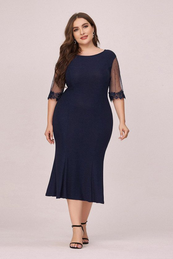 Plus Size Navy Blue Round Neck Bodycon Wedding Guest Dress With Sleeves - EP00495NB16
