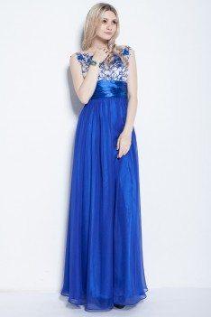 Royal Blue Chiffon Embroidery Long Dress - CK253