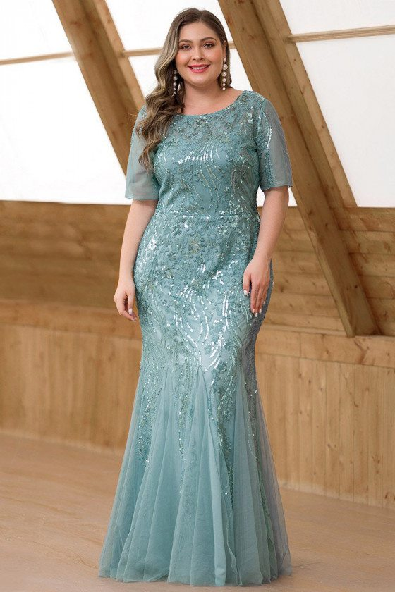 Dusty Blue Mermaid Plus Size Evening Dress With Sequined Embroidery