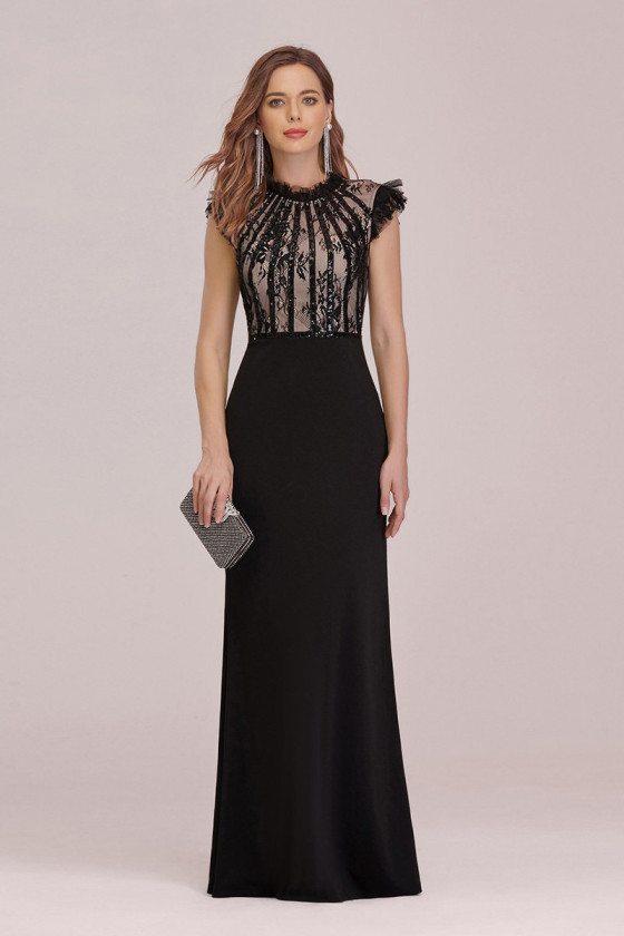 Elegant Long Black Fishtail Evening Dress With Ruffles