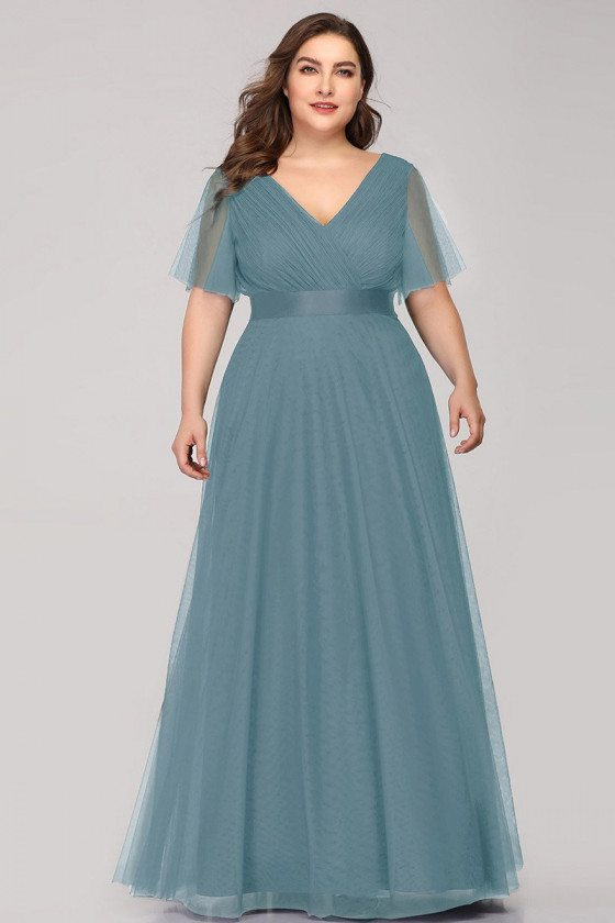 Dusty Blue Vneck Long Bridesmaid Dress Plus Size With Sheer Sleeves