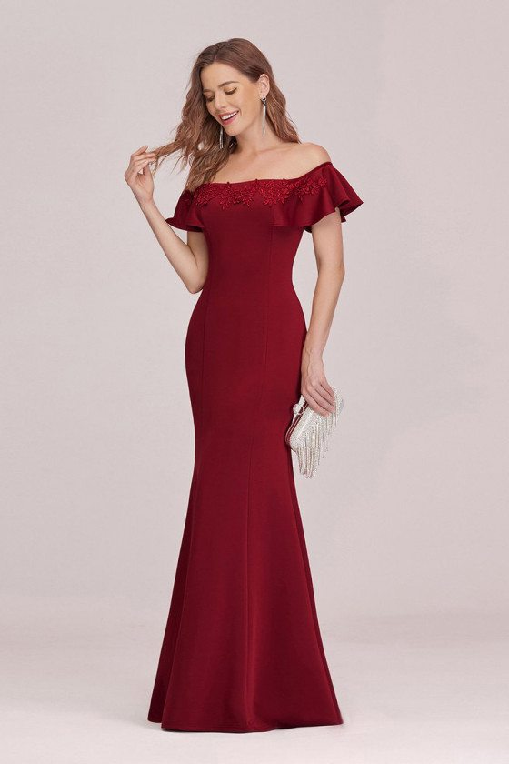 Burgundy Off Shoulder Mermaid Evening Dress With Appliques - EP00326BD